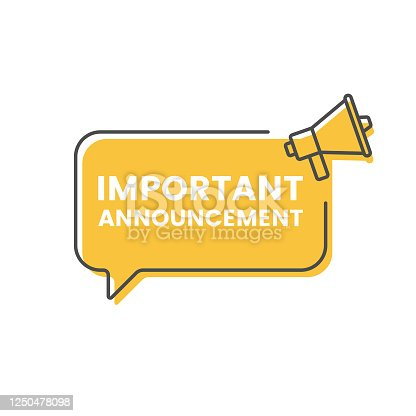 istock Important Announcement and Megaphone Speech Bubble Icon Vector Design. 1250478098