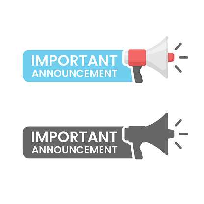 Important Announcement Flat Design on White Background.