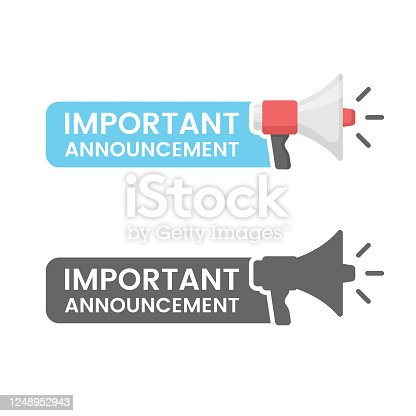 istock Important Announcement Flat Design on White Background. 1248952943