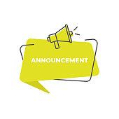 istock Important Announcement Speech Bubble Icon Vector Design. 1250483402