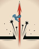 Blue Little Guy Cartoon Characters Full Length Vector art illustration.Copy Space, Manga style.