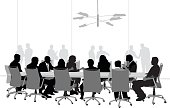 A vector silhouette illustration of a business meeting in a conference room with business men and women sitting around a table with people behind a glass window in the background.
