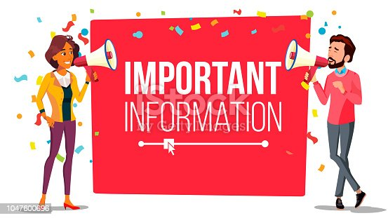 istock Important Information Attention Banner Vector. Businessman, Woman With Megaphone. Loudspeaker. Business Advertising. Place For Text. Illustration 1047600696
