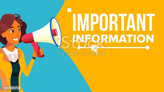 690508154 istock photo Important Information Banner Vector. Business Woman With Megaphone. Loudspeaker. Business Advertising. Place For Text. Attention Illustration 1047600706