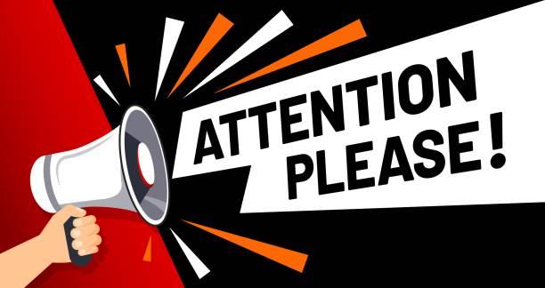 wichtige nachricht aufmerksamkeit bitte banner. prioritätsberatung, aufmerksamkeit und megaphon in der hand vektor-illustration - megaphone stock-grafiken, -clipart, -cartoons und -symbole
