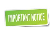 important notice square sticker on white