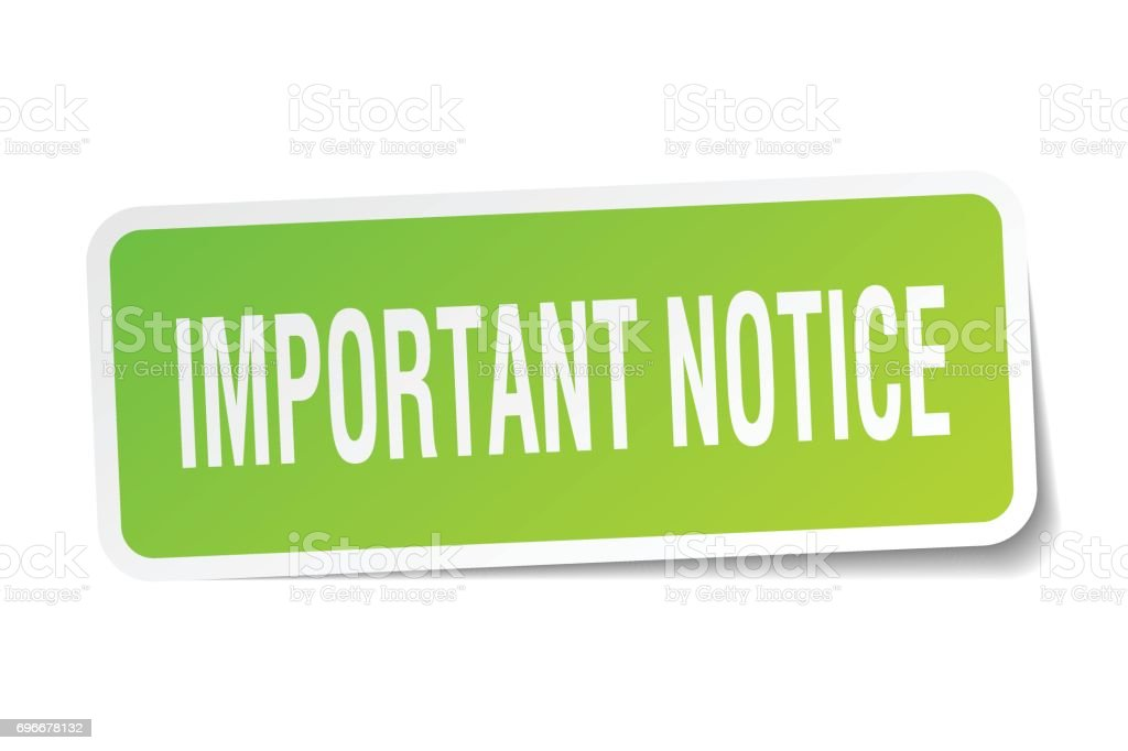important notice square sticker on white vector art illustration