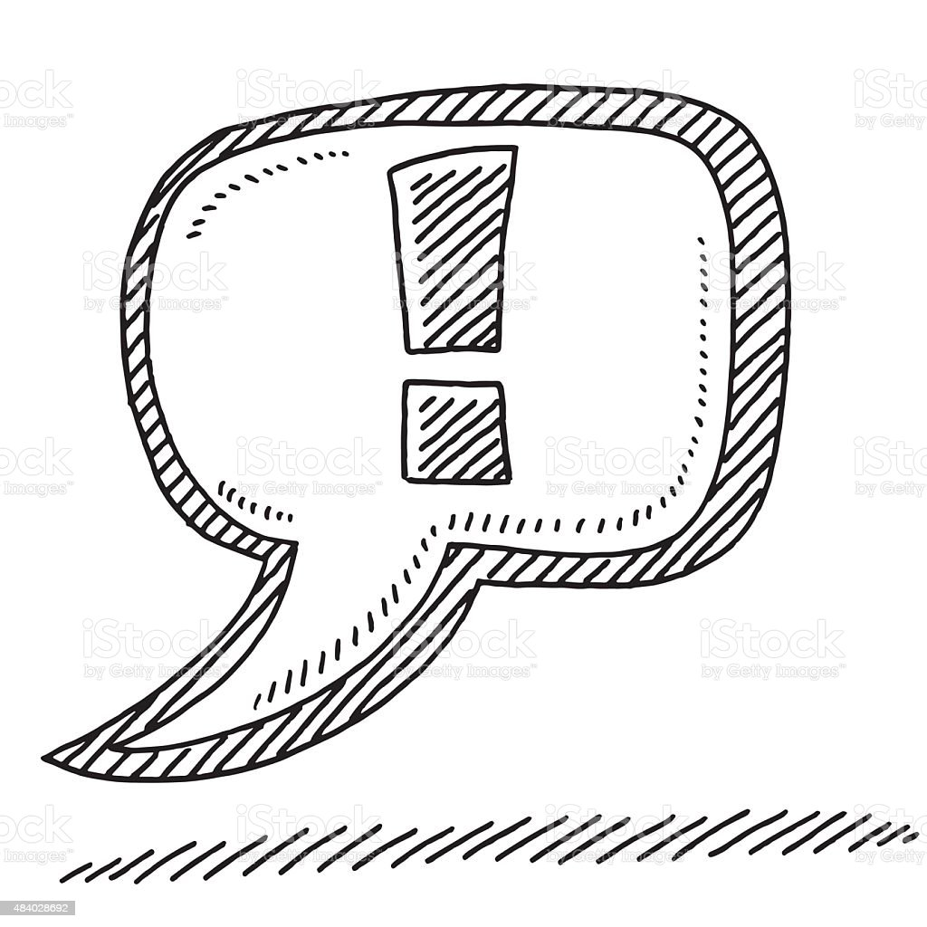 Important Speech Bubble Exclamation Mark Drawing vector art illustration