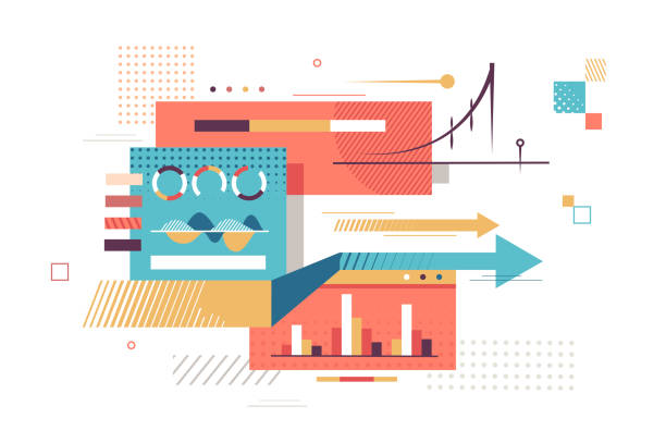 Important statistics data Important statistics data vector illustration. Charts show income determining profit and improve economics of company and complicated business strategy flat style concept determination stock illustrations