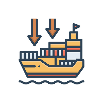 Icon for importers, import goods, shipping, transport, carriage, ship