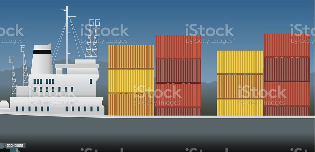 Imports and exports, container ship royalty-free stock vector art