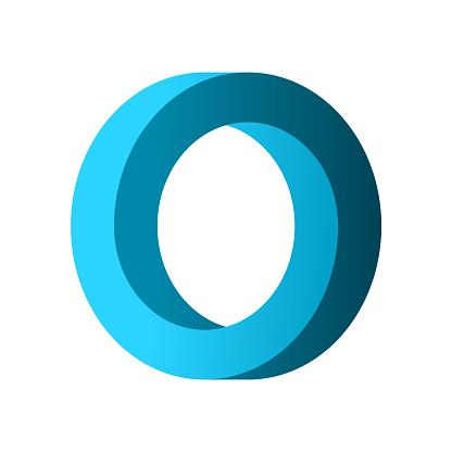 Impossible circle shape. Blue gradient infinite circular shape.