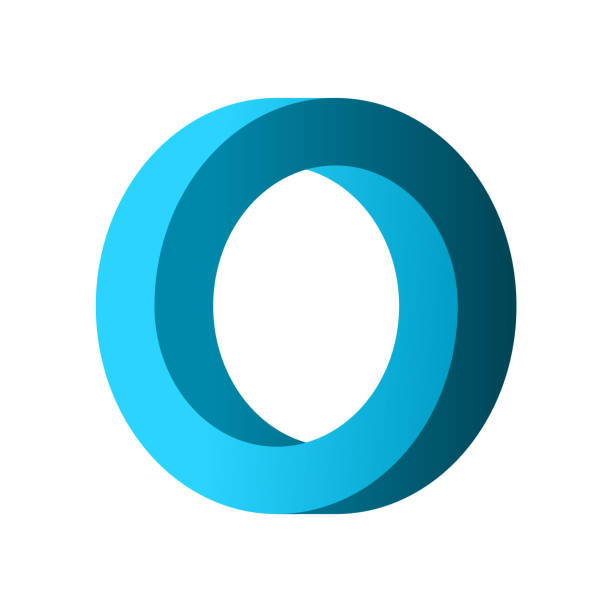 Impossible circle shape. Blue gradient infinite circular shape. Optical illusion. Interlocking circles on white background. Letter O or a ring. Abstract endless geometric loop. Vector illustration. alphabet symbols stock illustrations