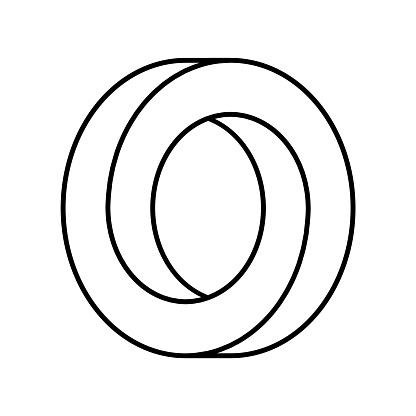 Impossible circle shape. Optical illusion. Linear infinite circular shape. Interlocking circles outline on white background.