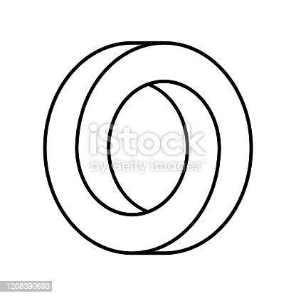 Abstract endless geometric loop. Letter O or ring. Vector illustration.