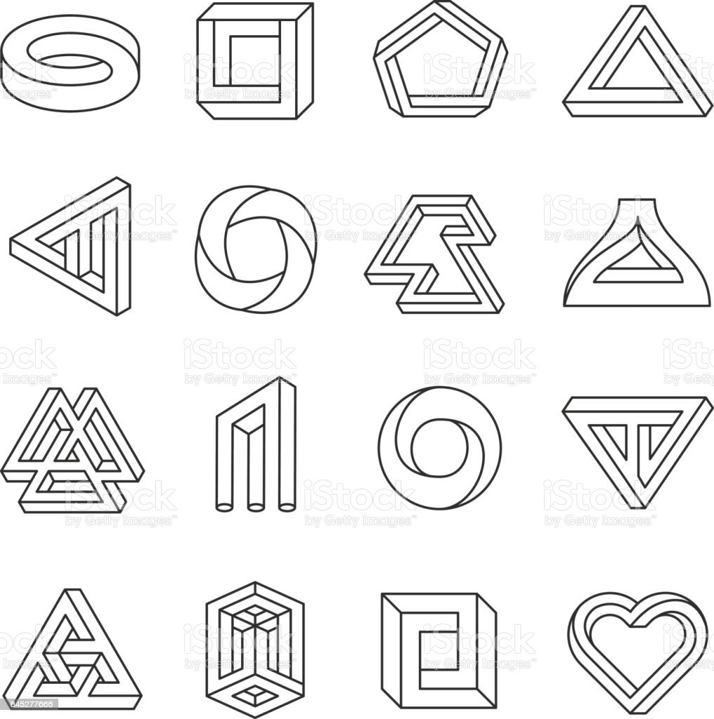 Impossible figures line art collection vector art illustration