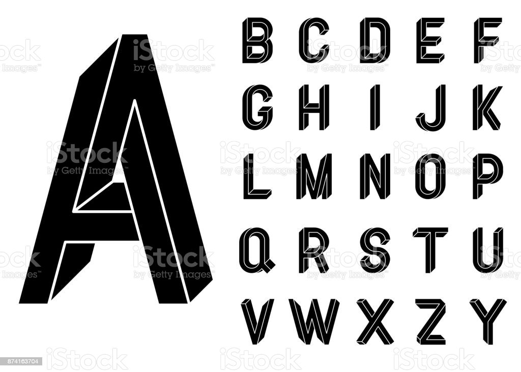 Impossible Geometry letters. Impossible shape font. Low poly 3d characters. Geometric font. Isometric graphics 3d abc. Black letters on a white background.