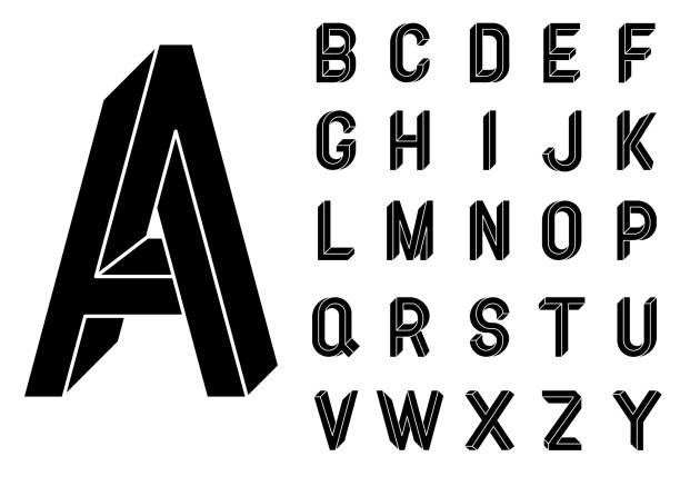 Impossible Geometry letters. Impossible shape font. Low poly 3d characters. Geometric font. Isometric graphics 3d abc. Black letters on a white background. Vector illustration 10 eps Impossible Geometry letters. Impossible shape font. Low poly 3d characters. Geometric font. Isometric graphics 3d abc. Black letters on a white background. Vector illustration 10 eps. alphabet symbols stock illustrations