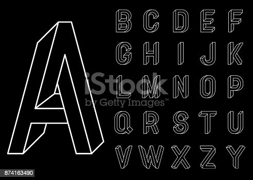 istock Impossible Geometry letters. Set of vector letters constructed on the basis of the isometric view. Low poly 3d characters. Geometric font. Vector illustration 10 eps. 874163490