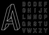 Impossible Geometry letters. Set of vector letters constructed on the basis of the isometric view. Low poly 3d characters. Geometric font. Vector illustration 10 eps