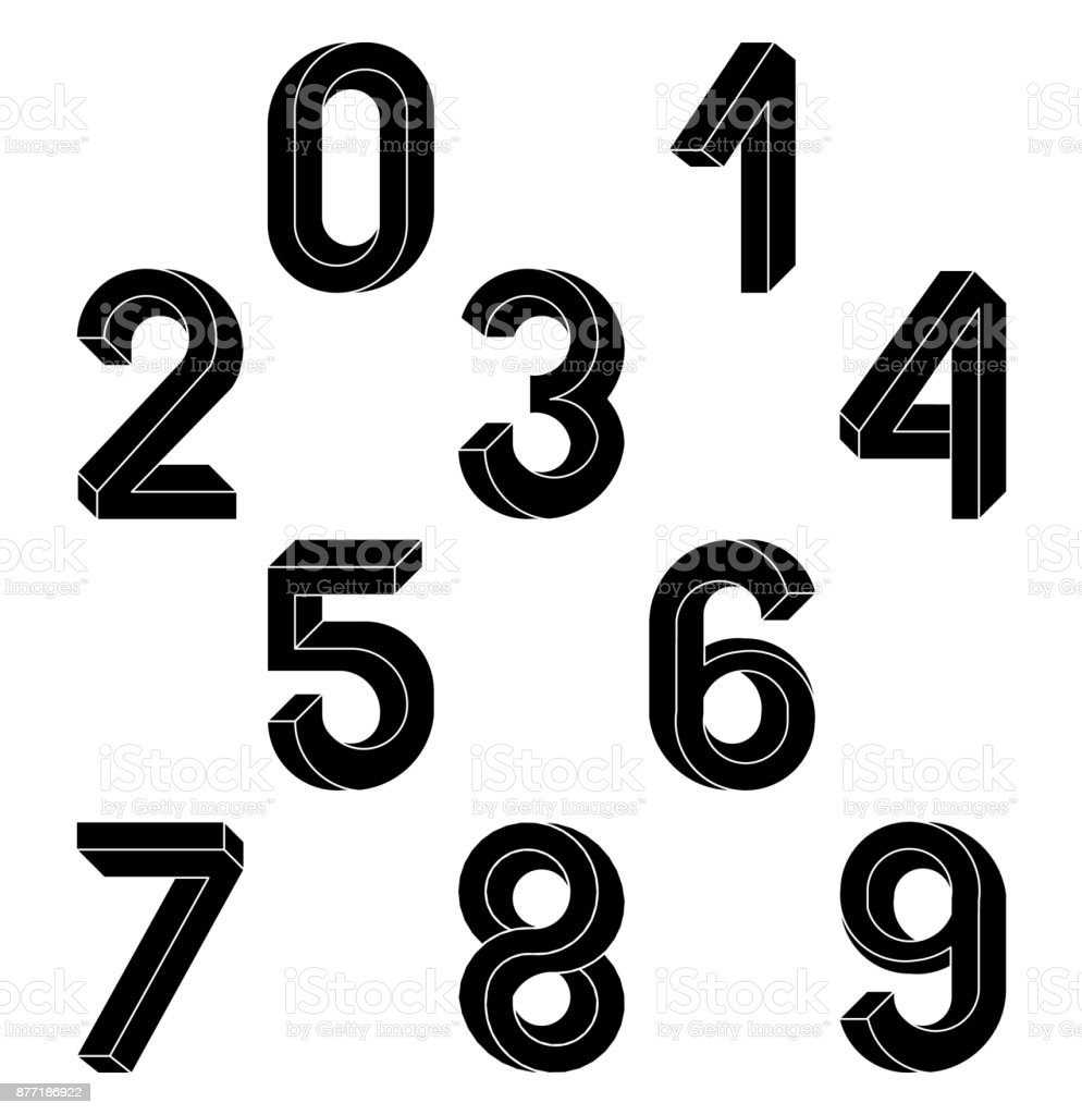 Impossible Geometry numbers. Impossible shape font. Low poly 3d characters. Geometric numbers. Isometric graphics 3d 1,23. Black numbers on a white background. Vector illustration 10 eps. vector art illustration