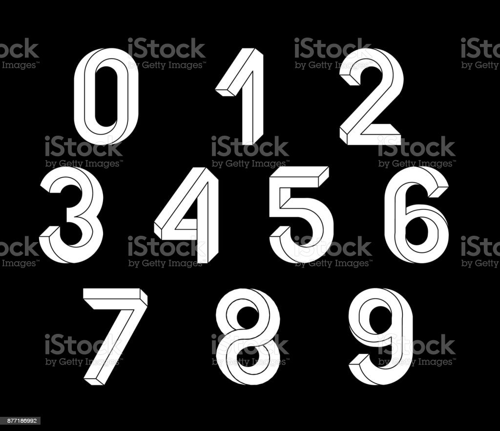 Impossible Geometry numbers. Impossible shape font. Low poly 3d characters. Geometric font. Isometric graphics 3d numbers. White symbols on a black background. Vector illustration 10 eps. vector art illustration