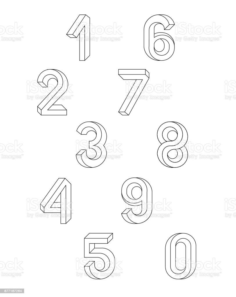 Impossible Geometry numbers. Set of vector numbers constructed on the basis of the isometric view. Impossible shape, optical illusion. Sacred geometry. Vector illustration 10 eps. vector art illustration