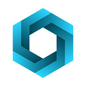istock Impossible hexagon sign. Optical illusion. Blue gradient six sided polygon. 1208885197