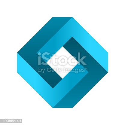 Abstract eternal geometric object. Impossible endless sign. Impossible geometry symbol on white background. Vector