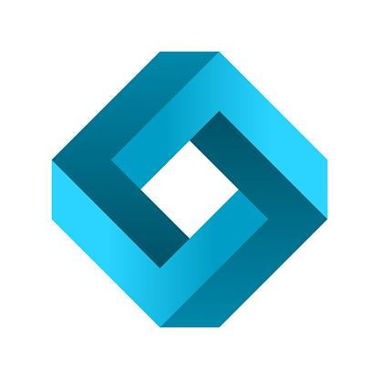 Impossible rectangle shape. Blue gradient infinite rhombus figure. Optical illusion.