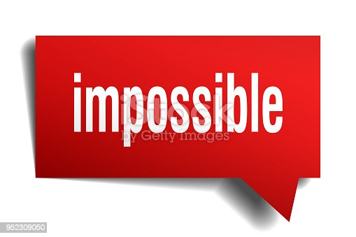 impossible red 3d square isolated speech bubble