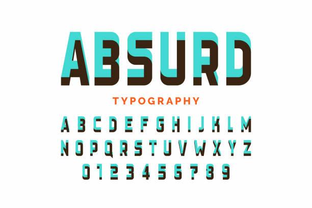 impossible shape font design - fantasy stock illustrations