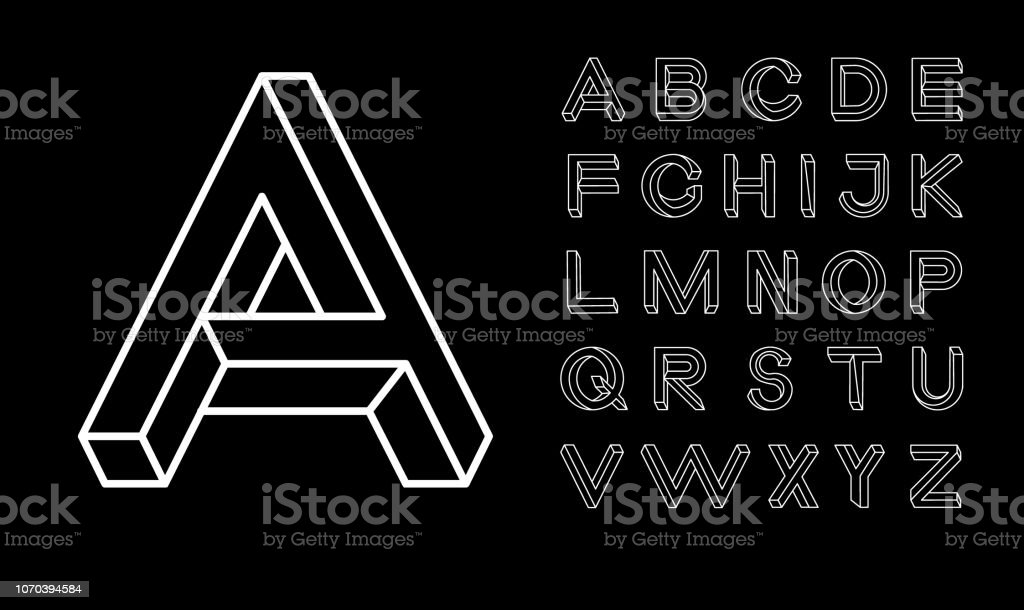 Impossible Shape Font Memphis Style Letters Colored Letters In The