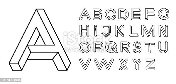 Impossible shape font. Memphis style letters. Colored letters in the style of the 80s. Set of vector letters constructed on the basis of the isometric view. Vector illustration 10 eps.