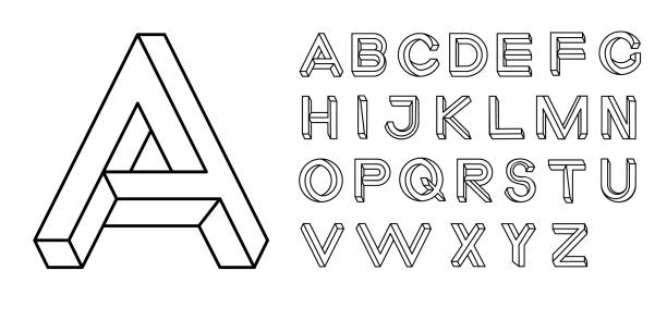 impossible shape font. memphis style letters. colored letters in the style of the 80s. set of vector letters constructed on the basis of the isometric view. vector illustration 10 eps - линейная перспектива stock illustrations