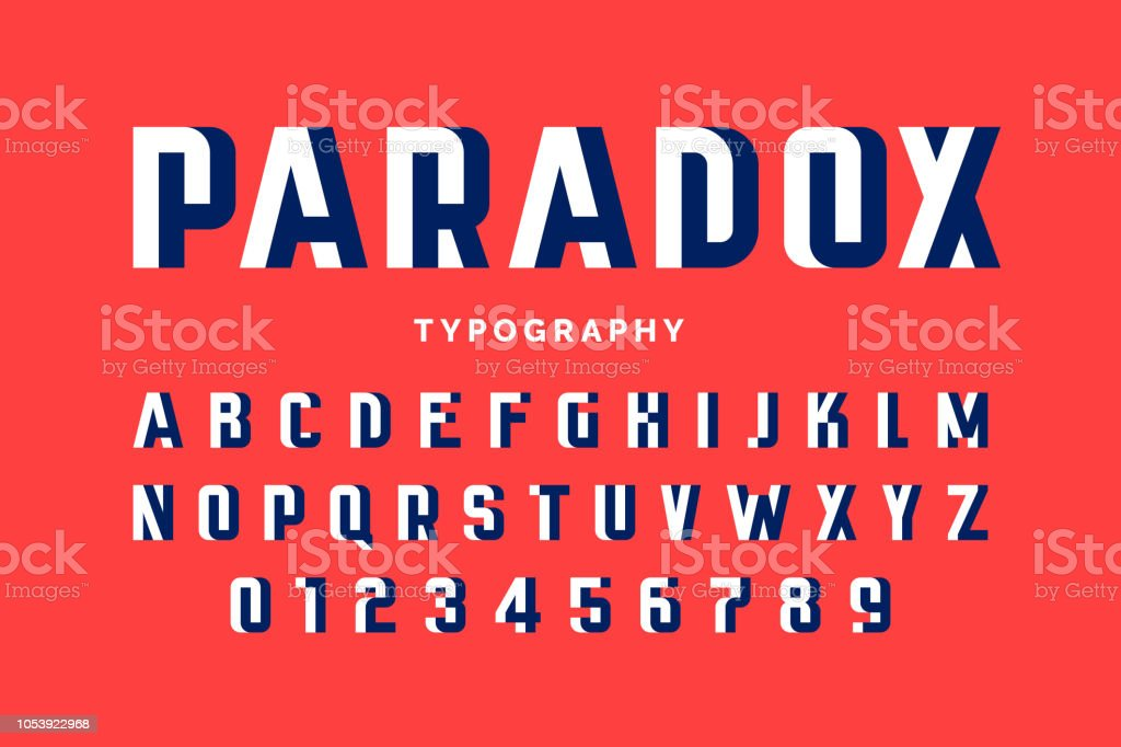 Impossible shape font vector art illustration