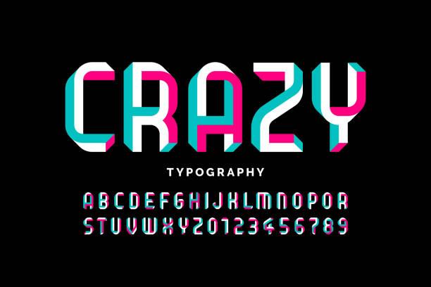 stockillustraties, clipart, cartoons en iconen met onmogelijke vorm font - bizar