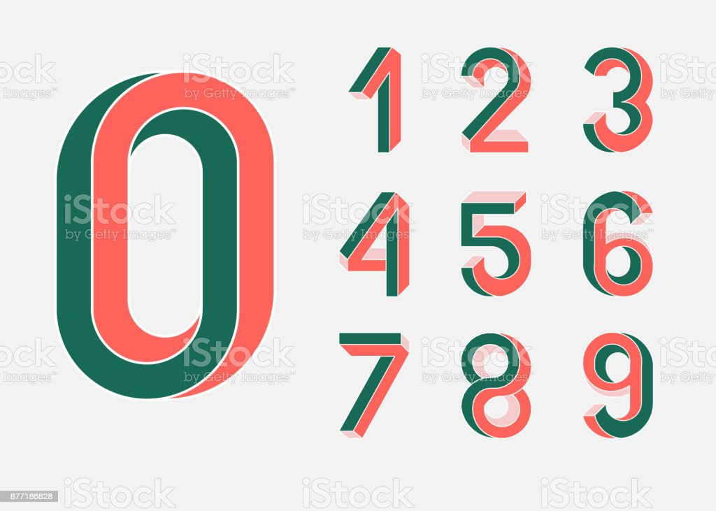 Impossible shape numbers. Retro style . Colored numbers in the style of the 80s. Set of vector numbers constructed on the basis of the isometric view. Low poly 3d characters. Vector vector art illustration