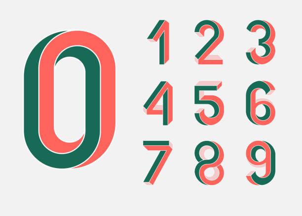불가능 한 도형 숫자입니다. 멤피스 스타일입니다. 80 년대의 스타일에서 색된 번호입니다. 벡터 번호 아이소메트릭 뷰 기초 건설의 설정. 낮은 폴 리 3d 캐릭터입니다. 벡터 - 숫자 stock illustrations