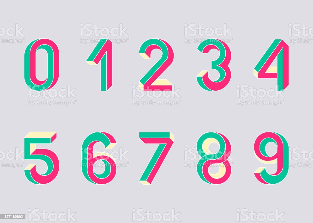 Impossible shape numbers. Retro style numbers. Colored numbers in the style of the 80s. Set of vector symbols constructed on the basis of the isometric view. Vector illustration 10 eps. vector art illustration