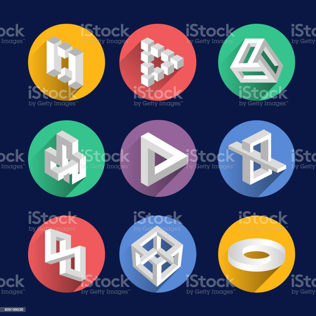 Impossible shapes, optical illusion objects vector symbols vector art illustration