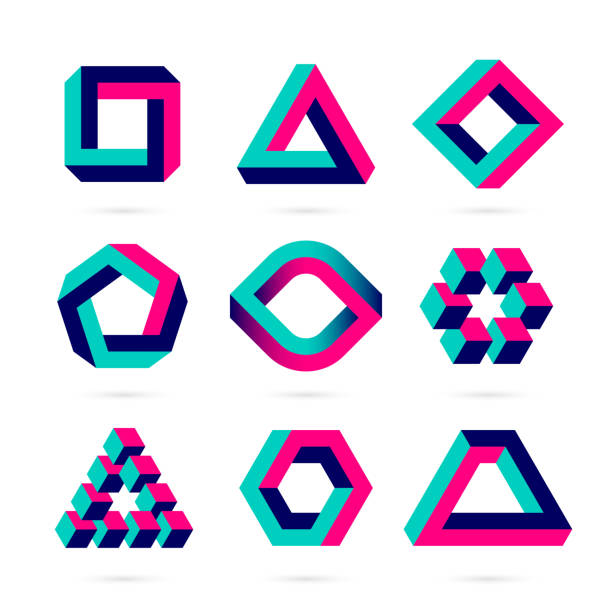 Impossible shapes Optical illusion objects. Vector illustration with transparent effect, eps10. cube shape stock illustrations