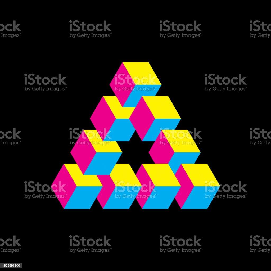 Ilustración de Triángulo Imposible En Colores Cmyk Cubos Como ...