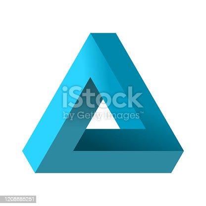 istock Impossible triangle. Penrose optical illusion. Blue gradient endless triangular shape. 1208885251