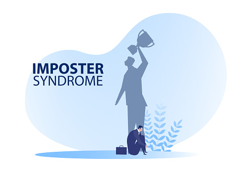 Imposter syndrome.man sitting  for her present profile Anxiety and lack of self confidence at work; the person fakes is someone else concept with getaward shadow .