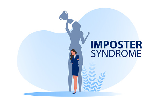 Imposter syndrome.shadow woman standing for her present profile take award with Anxiety and lack of self confidence at work; the person fakes is someone else concept