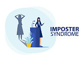 istock Imposter syndrome.woman standing for her present profile with fear shadow behind. Anxiety and lack of self confidence at work ,the person fakes is someone else concept 1272902497