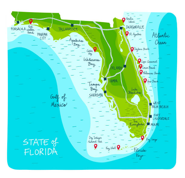 ImprimirHand Drawn map of the state of Florida with main cities and point of interest. Hand Drawn map of the state of Florida with main cities and point of interest. Colorful flat style beach symbols stock illustrations