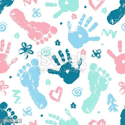 Imprint of baby palm and foot vector seamless pattern. Beautiful set of elements heart, flower, arrow finger drawing seamless texture. Template. Textiles, wrapping paper, wallpaper design.