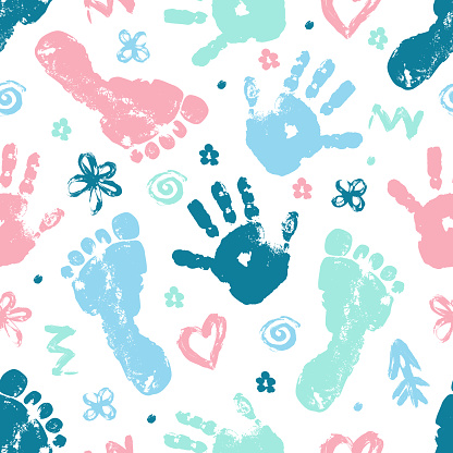 Imprint of baby palm and foot vector seamless pattern. Beautiful set of elements heart, flower, arrow finger drawing seamless texture.